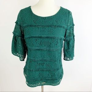 UO Skies Are Blue Bell Sleeve Lace Tiered Blouse